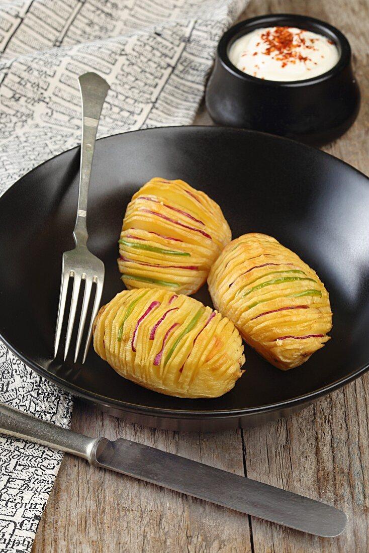 Stuffed Hasselback potatoes