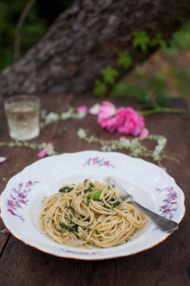 Spaghetti with anchovy's, fresh herbs, lemon zest and olive oil