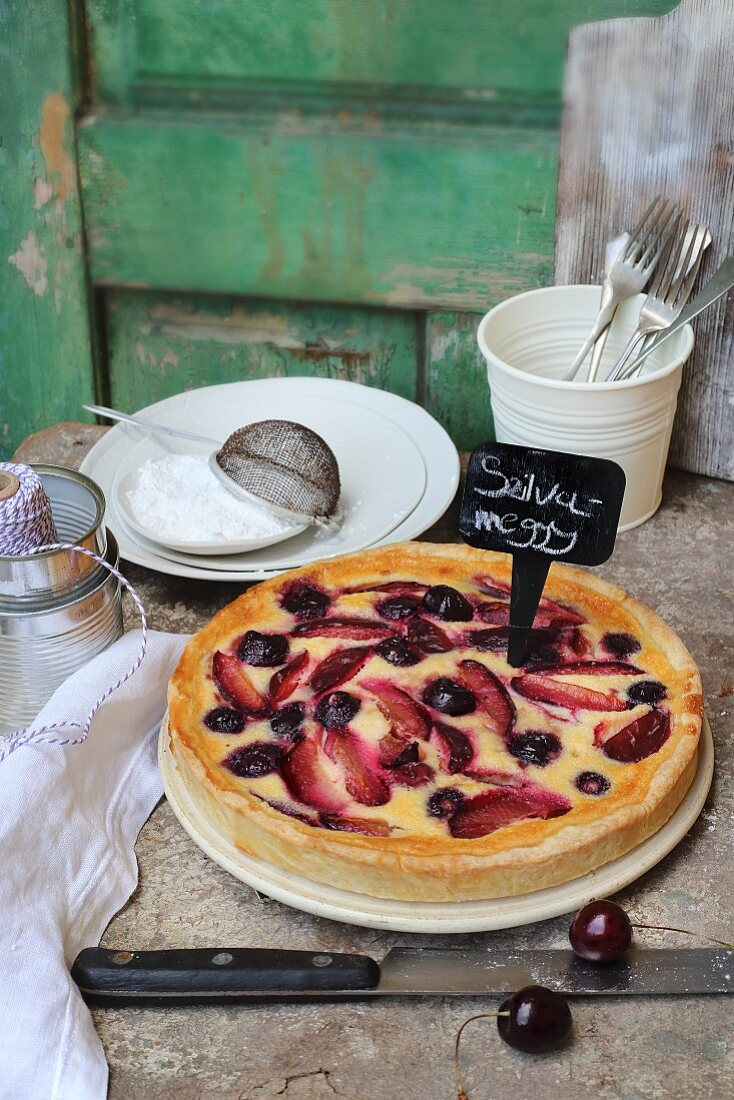 Quark cake with cherries and plums