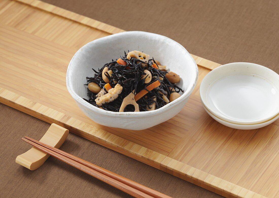 Hijiki braised in soy sauce (Japan)