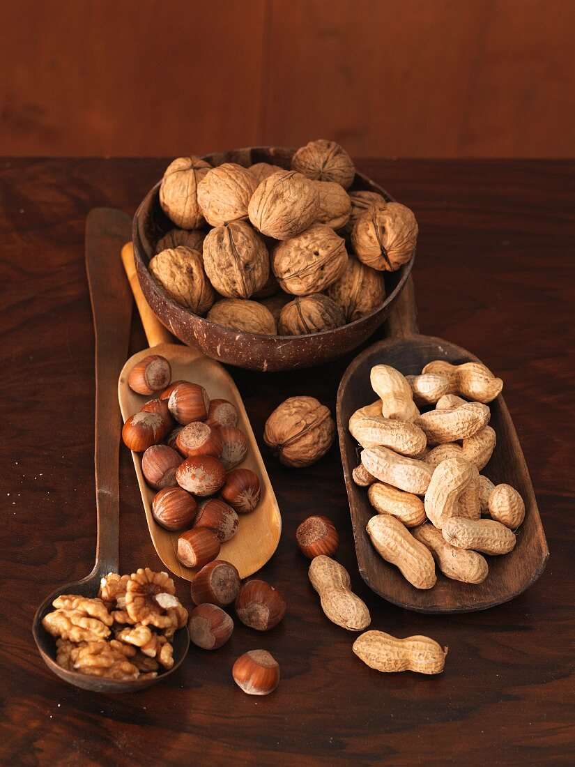 Various nuts in wooden dishes and on a ladle
