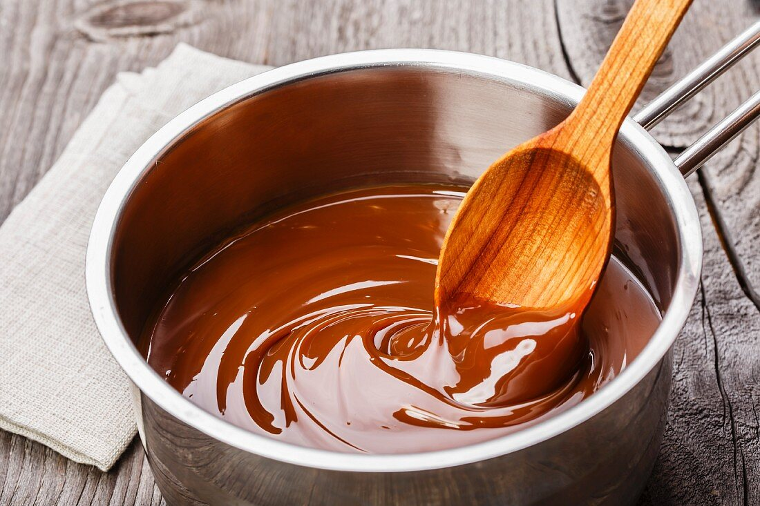 Caramel sauce in a saucepan