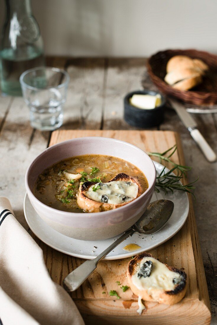 Onion soup with cheese toast