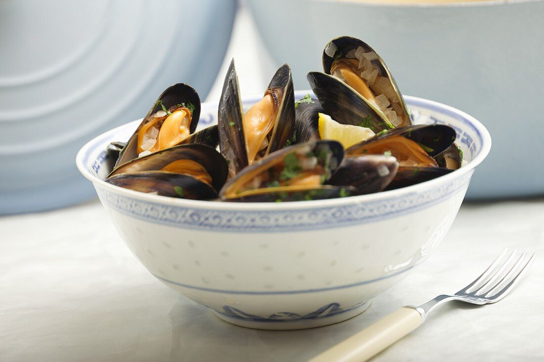 Muscles in white wine sauce
