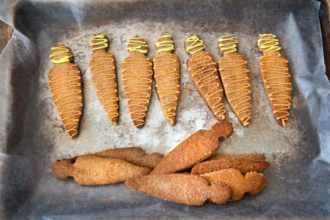 Carrot-shaped digestive biscuits for Easter
