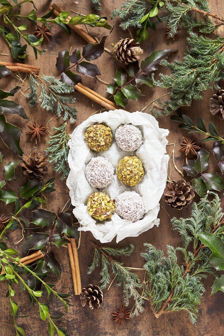 Vanilla truffles with pistachios, coconut and homemade vanilla extract (seen above)