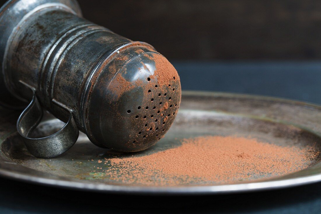 Cocoa powder and a cocoa shaker on a metal plate