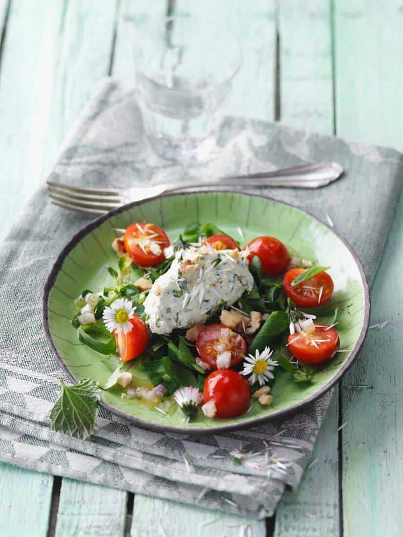 Daisy salad with a stinging nettle and cream cheese dumpling