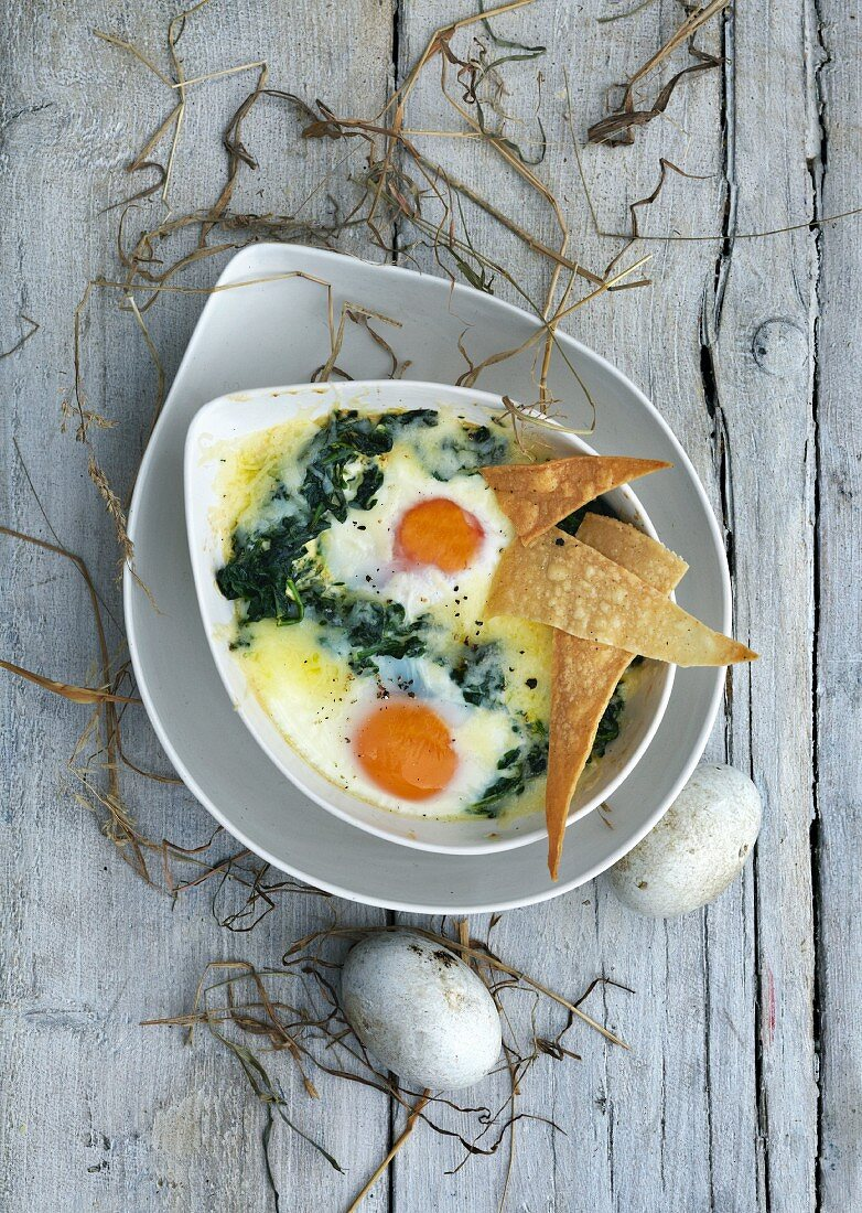 Oeufs en cocotte with spinach