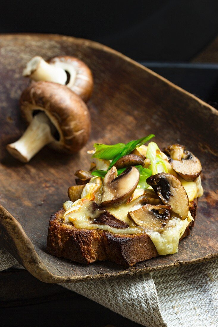 Bruscette al funghi (grilled bread topped with mushrooms) on a wooden scoop