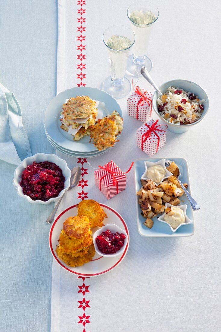 Various Christmas side dishes