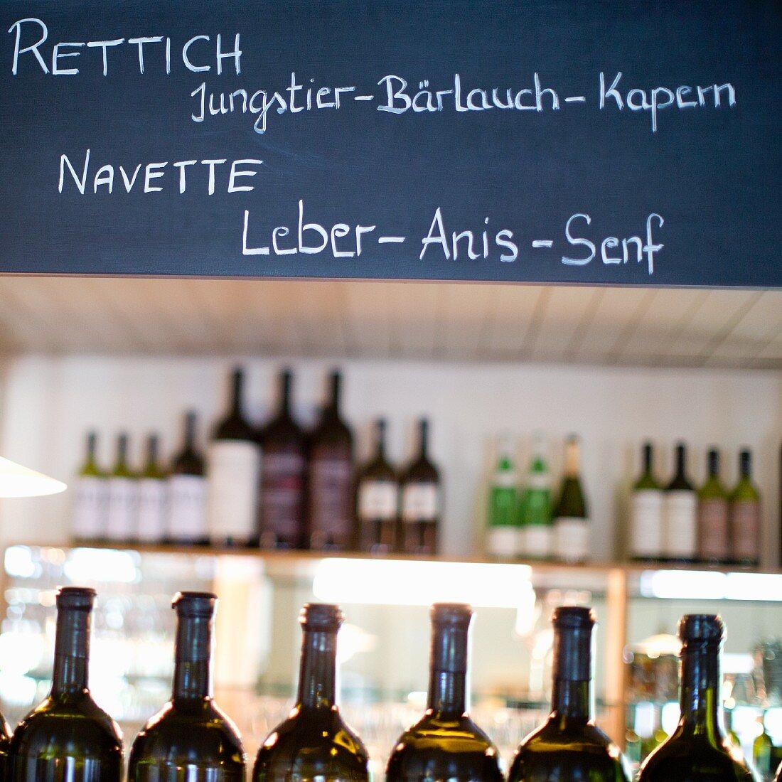 A specials board in the restaurant Saziani Stub'n, Styria, Austria