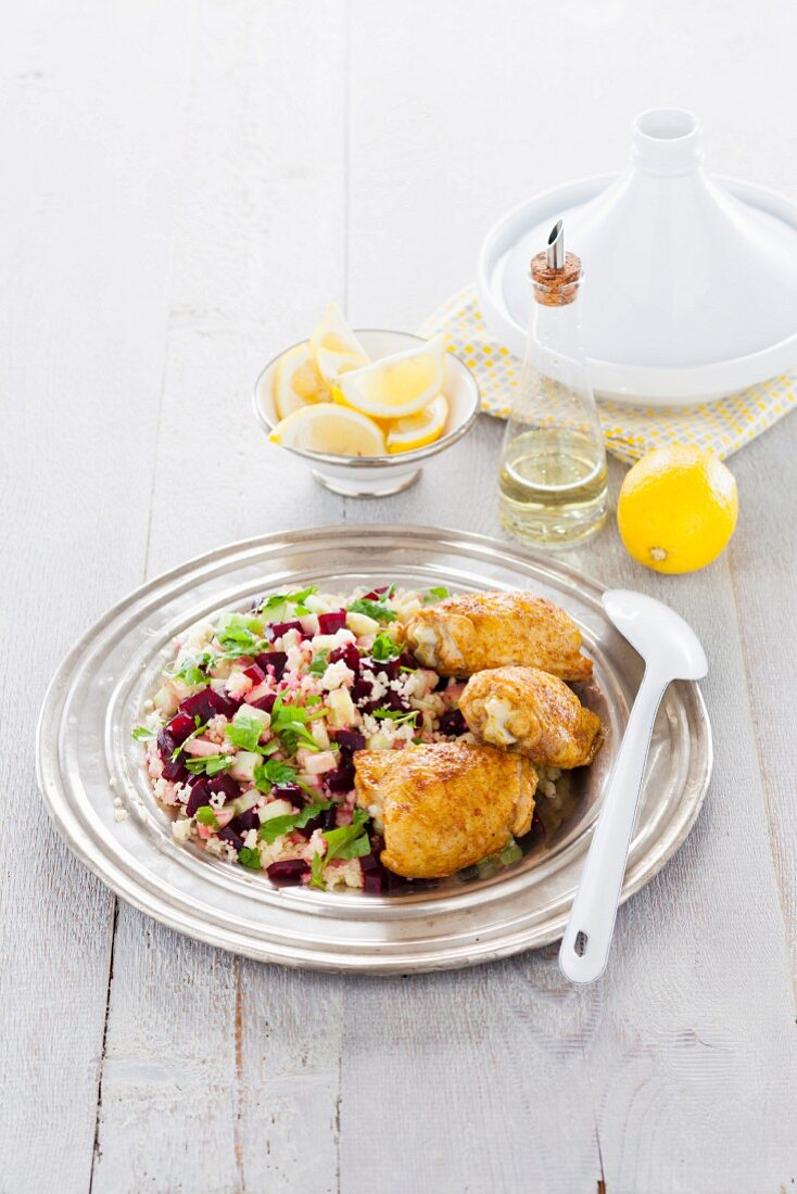Lemon chicken and a couscous and beetroot salad (Morocco)