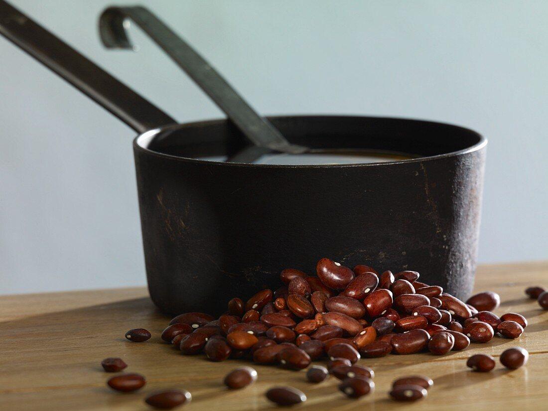 Borlotti beans and a saucepan
