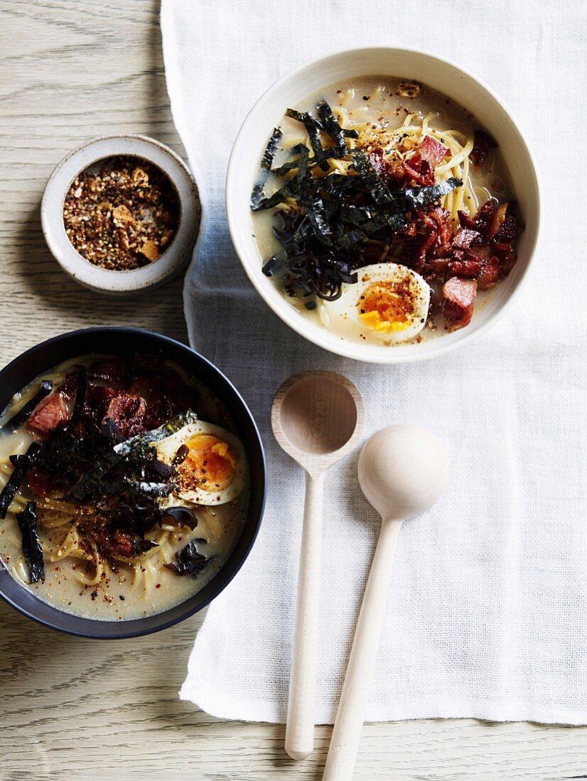Bacon and egg tonkotsu ramen