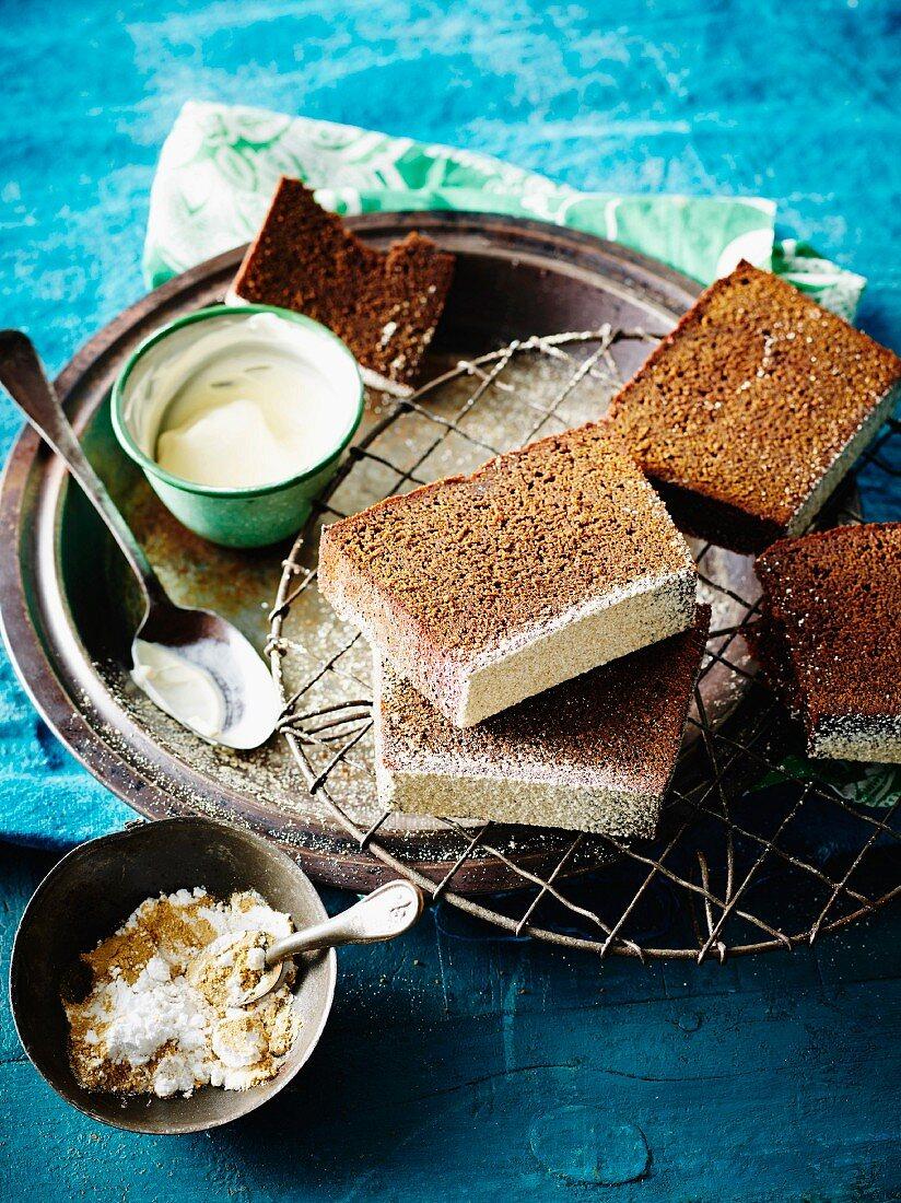 Slices of ginger loaf cake (Jamaica)