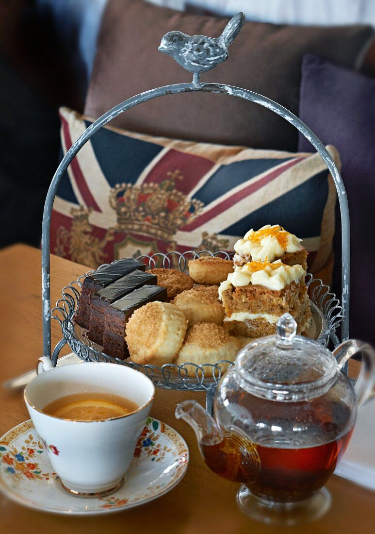 Cake and biscuits for teatime in a restaurant