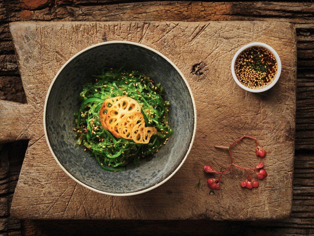 Thai seaweed salad with sesame seeds and lotus roots