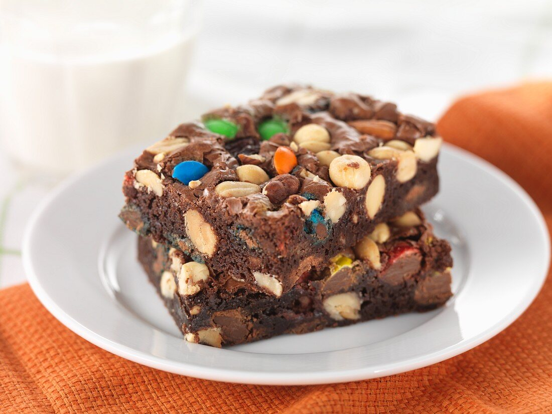 Brownies with nuts and colourful chocolate beans