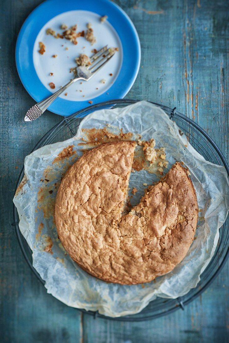 A sliced almond cake