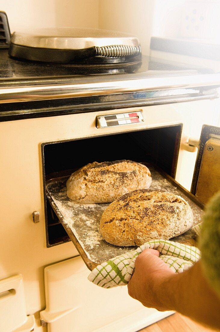 A person taking loaves of bread out of an oven