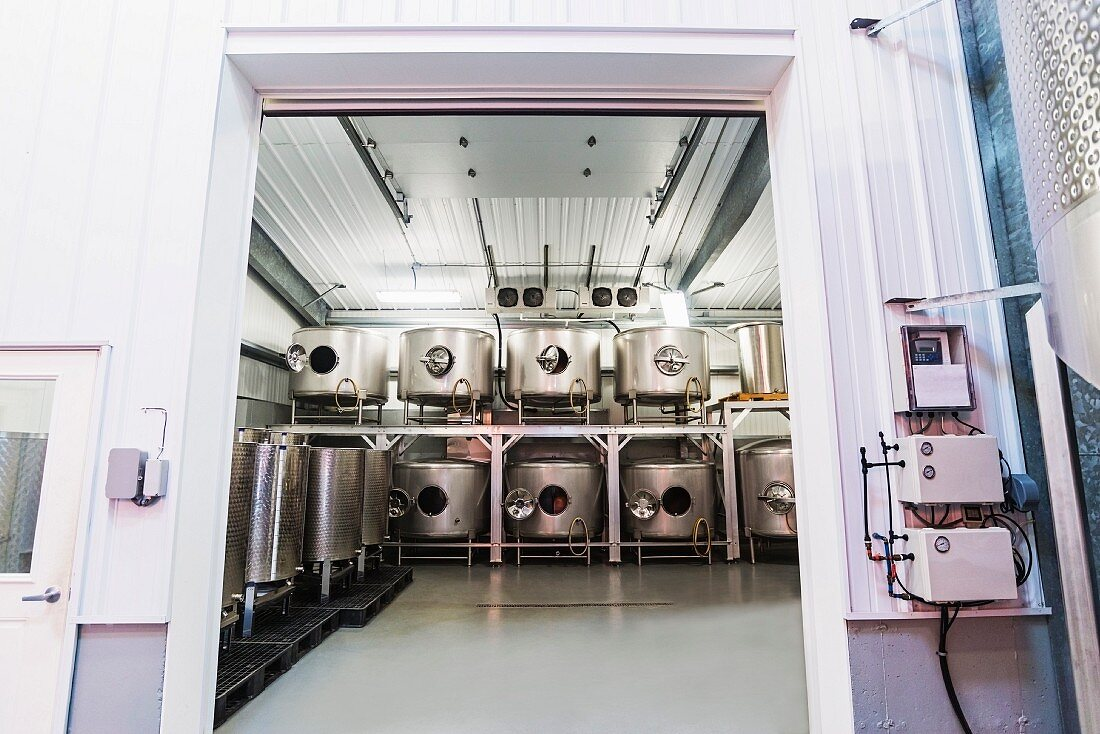 A showroom for professional wine-making equipment