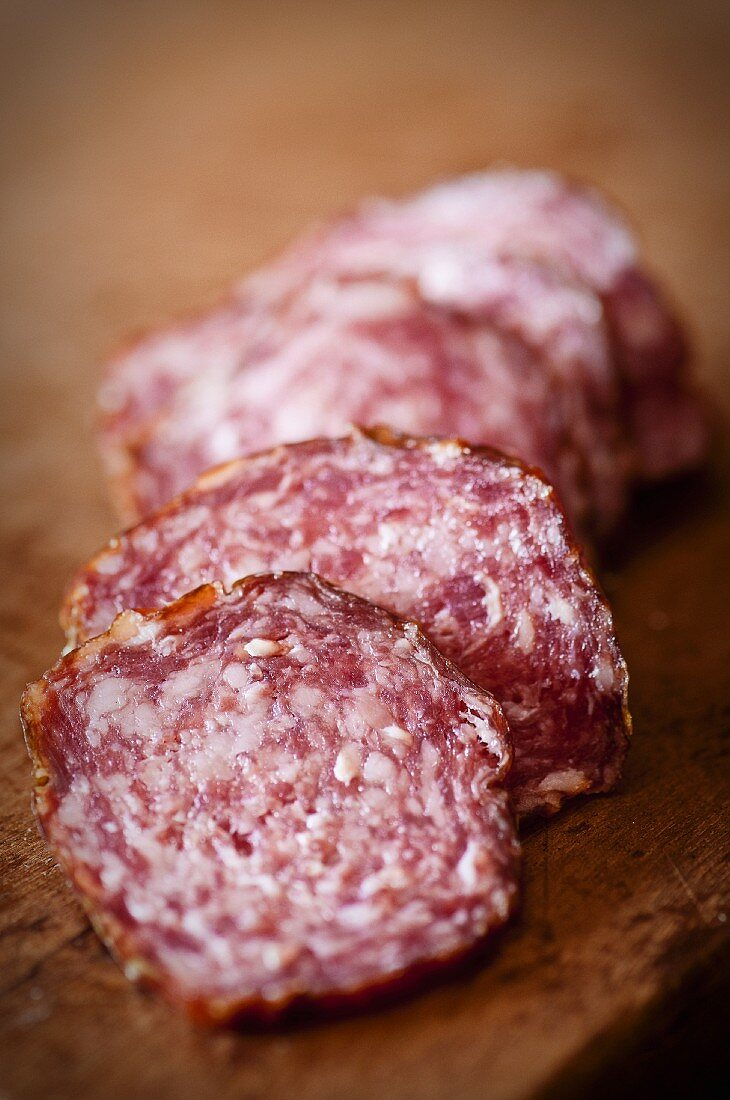 Slices of red wine salami
