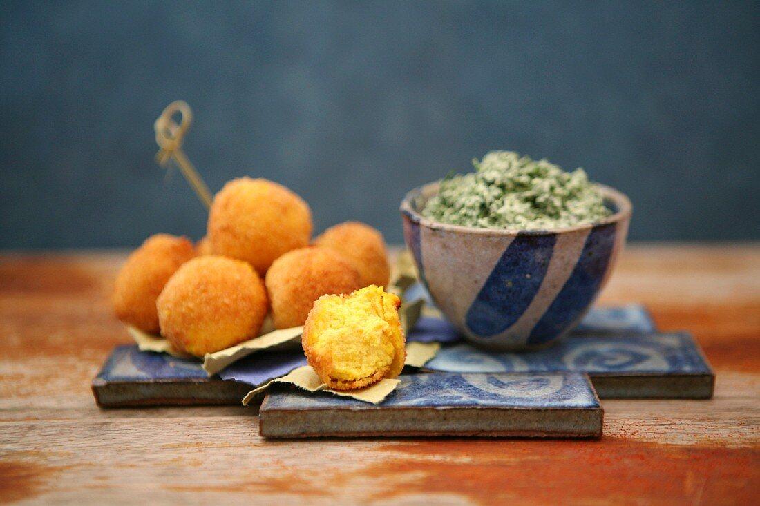 Saffron croquettes with a spinach and ricotta cream