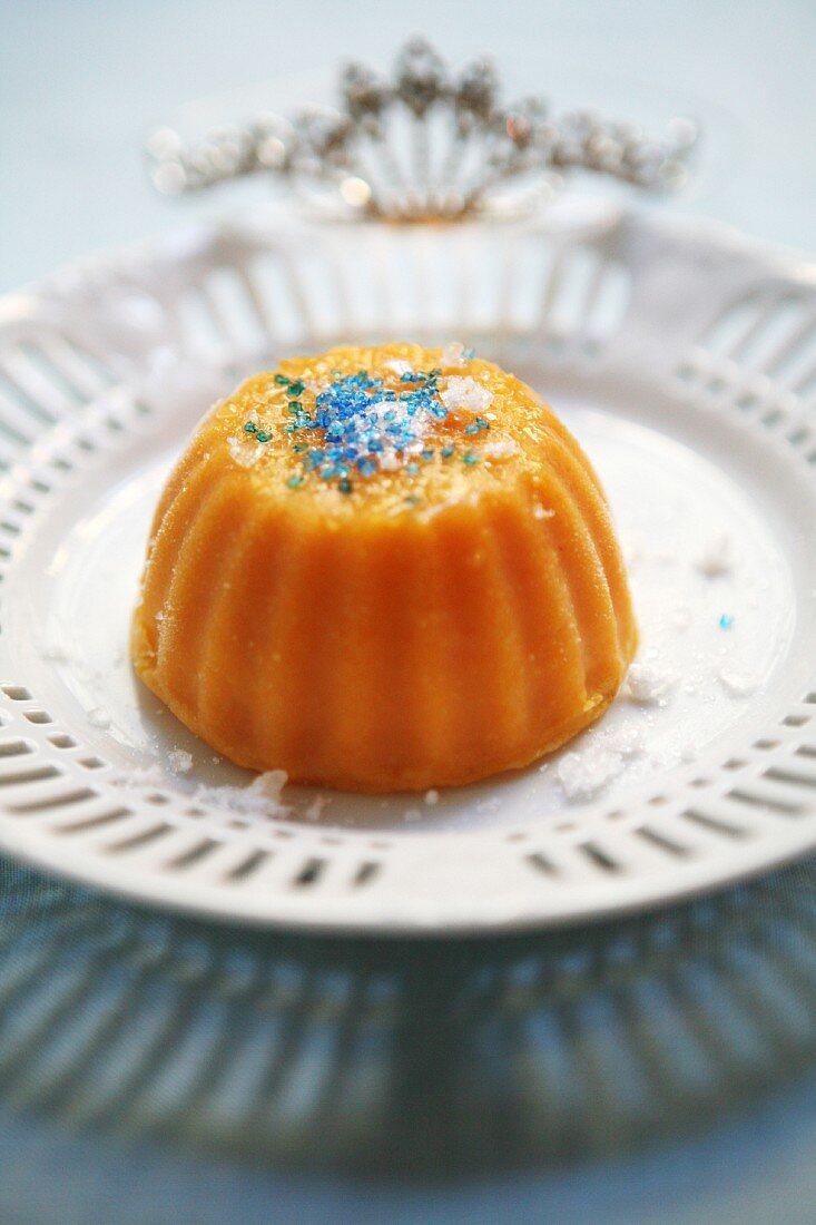 Pumpkin pudding with blue sugar sprinkles