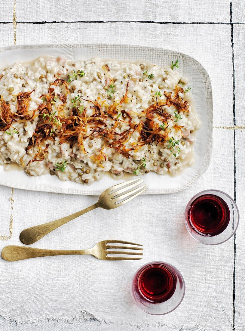 Rice and lentil risotto with pancetta