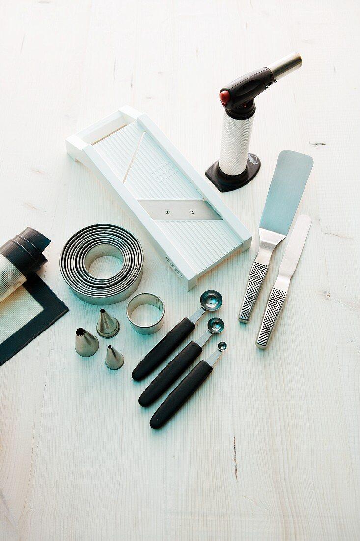 Various kitchen utensils and equipment for making garnishes