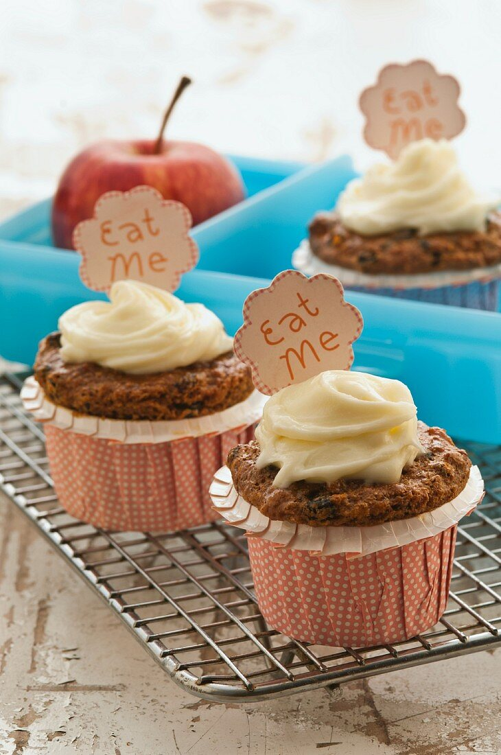 Dried fruit and malt cupcakes with buttercream