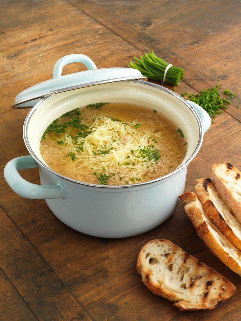 Stracciatella alla pesarese (Italian pasta soup)