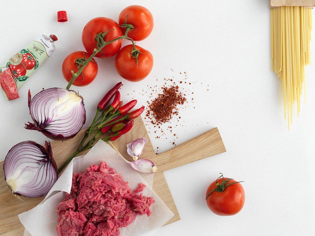 Ingredients for pasta asciutta
