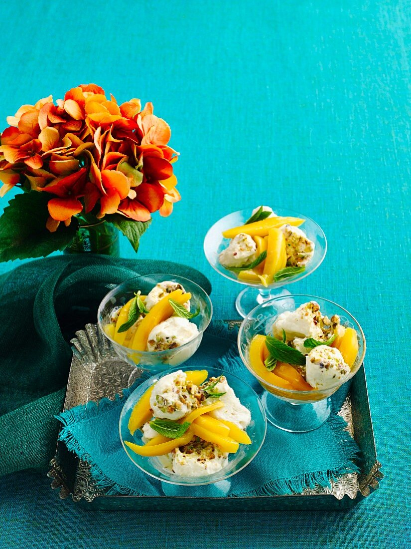 Coconut and rosewater kulfi with mango salad