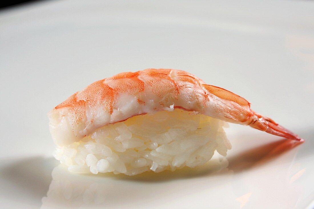 An ebi sushi: nigiri sushi with prawns