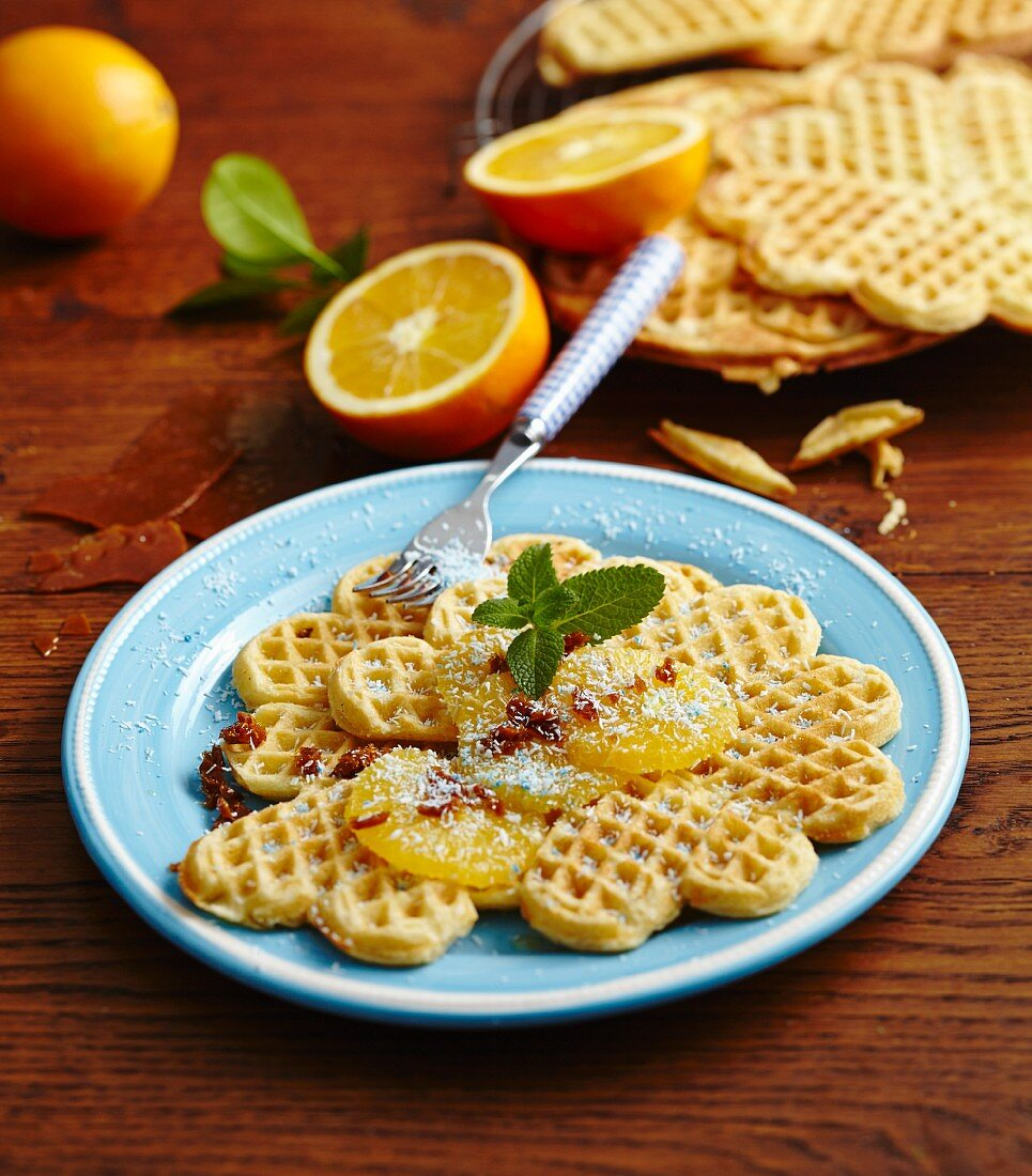Coconut waffles with oranges