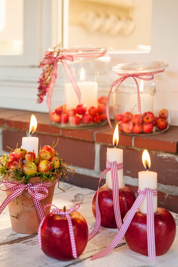 Candlesticks hand-crafted from apples