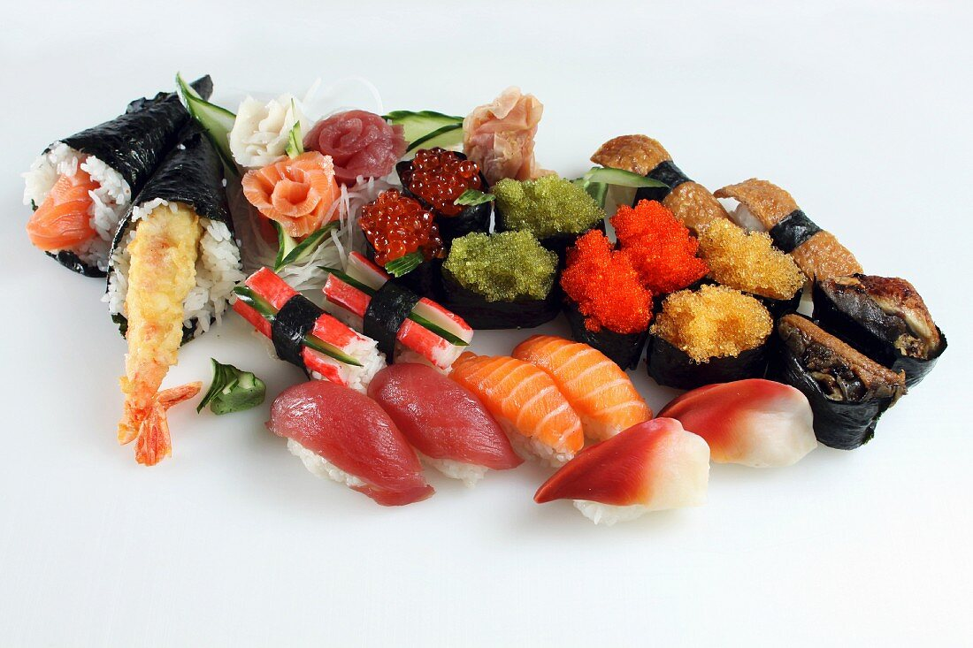 Various sushi on a white surface
