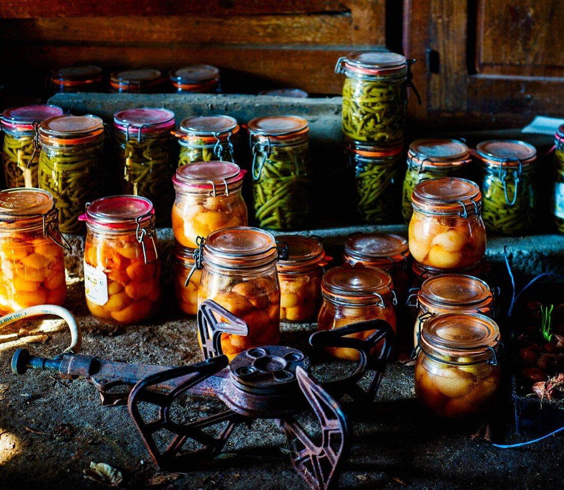 Various jars of pickles in a rustic atmosphere