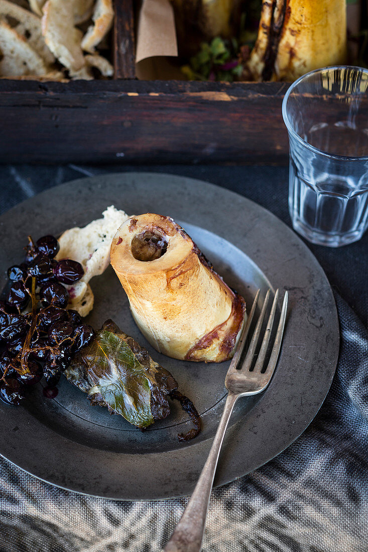 Roasted marrow bones with balsamic grapes