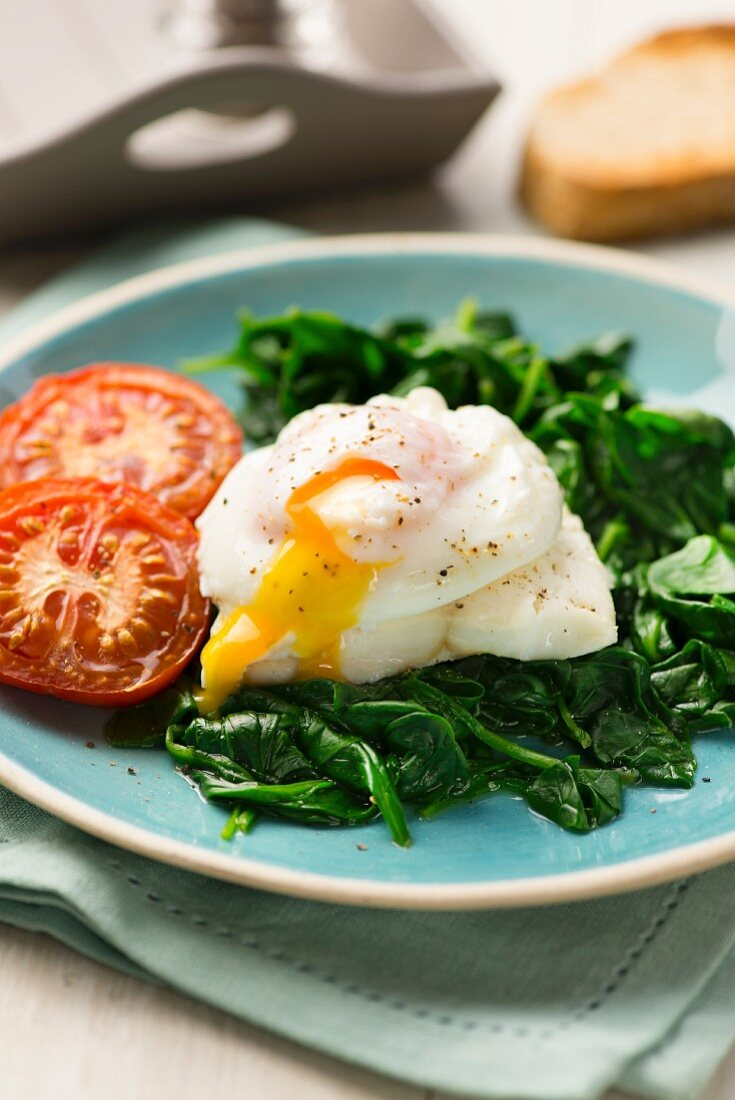 Haddock with spinach and poached egg