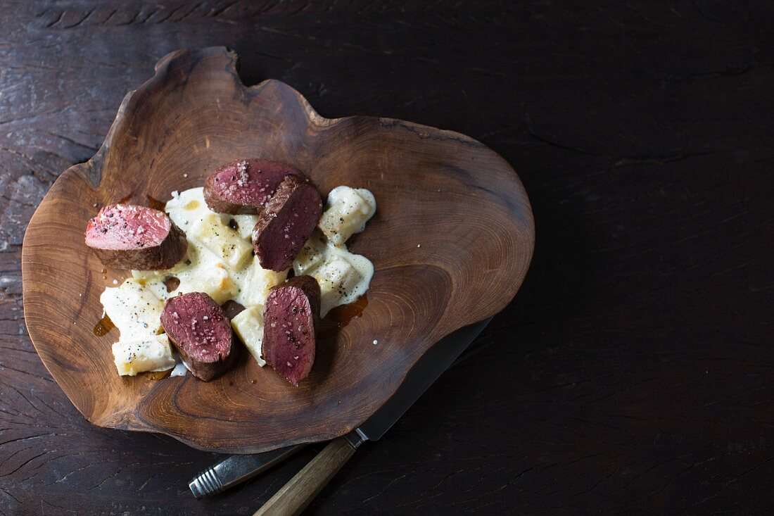 Saddle of venison with black truffles