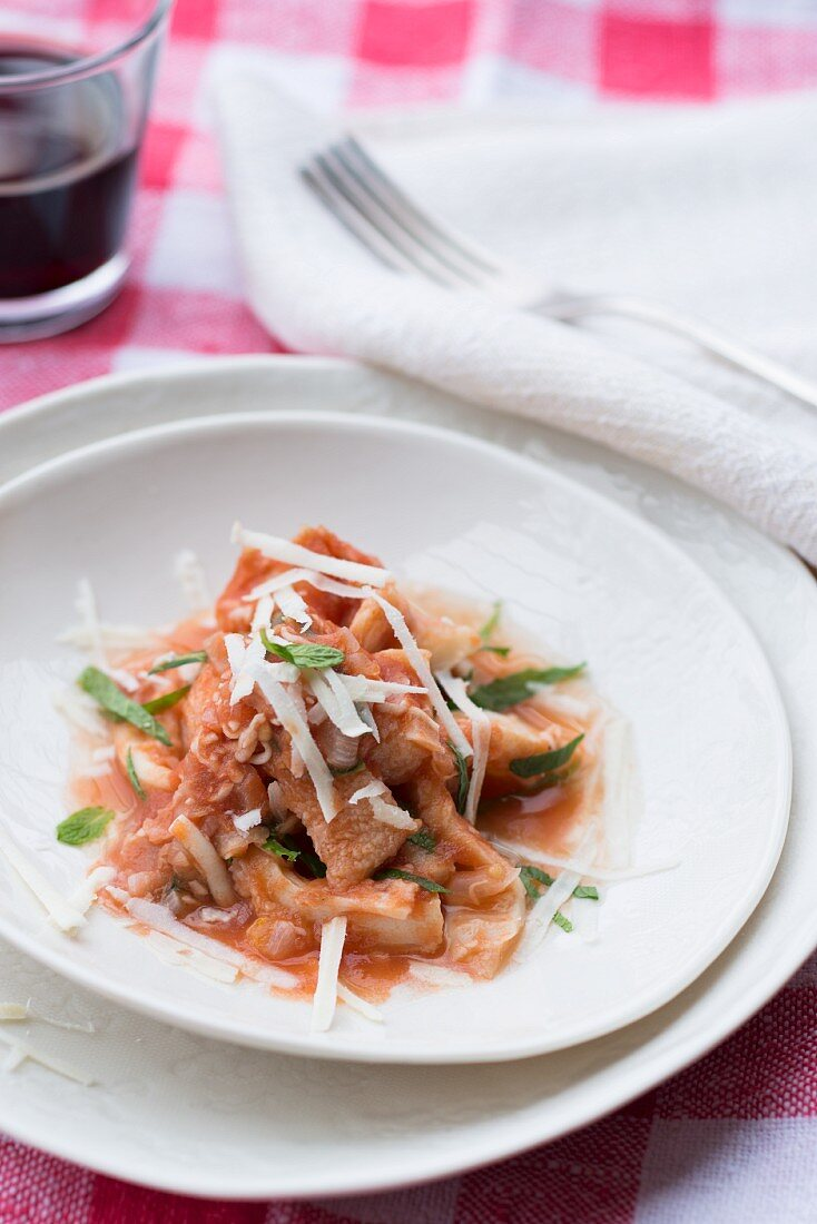 Tripe with tomatoes and Parmesan