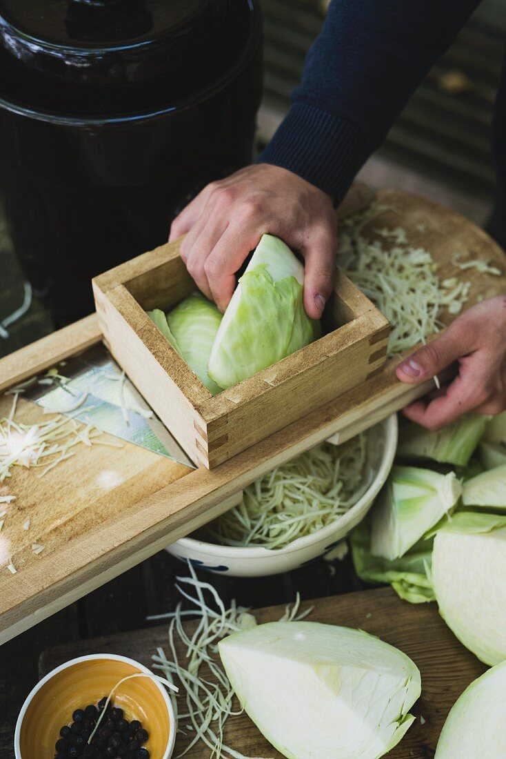White cabbage being grated