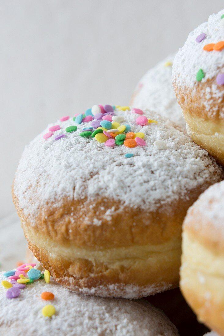 Doughnuts with sugar confetti