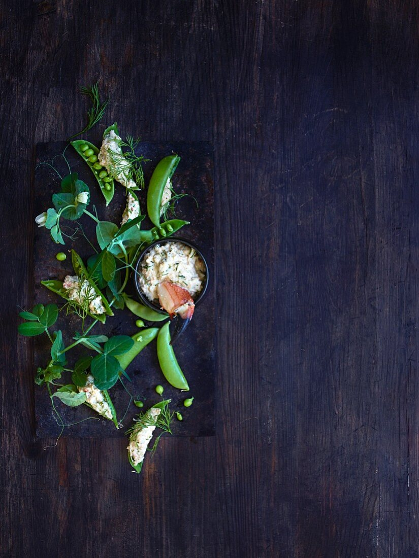 A pea and crab dip with horseradish