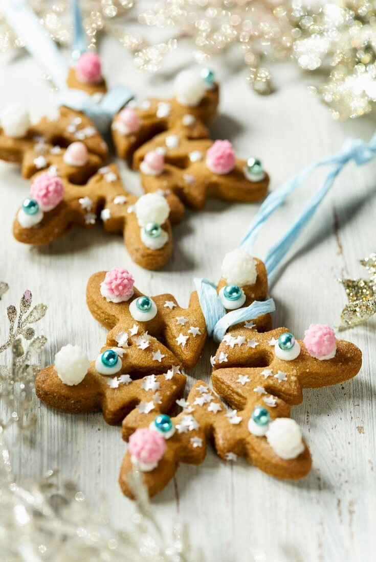 Decorated gingerbread stars for hanging on a Christmas tree