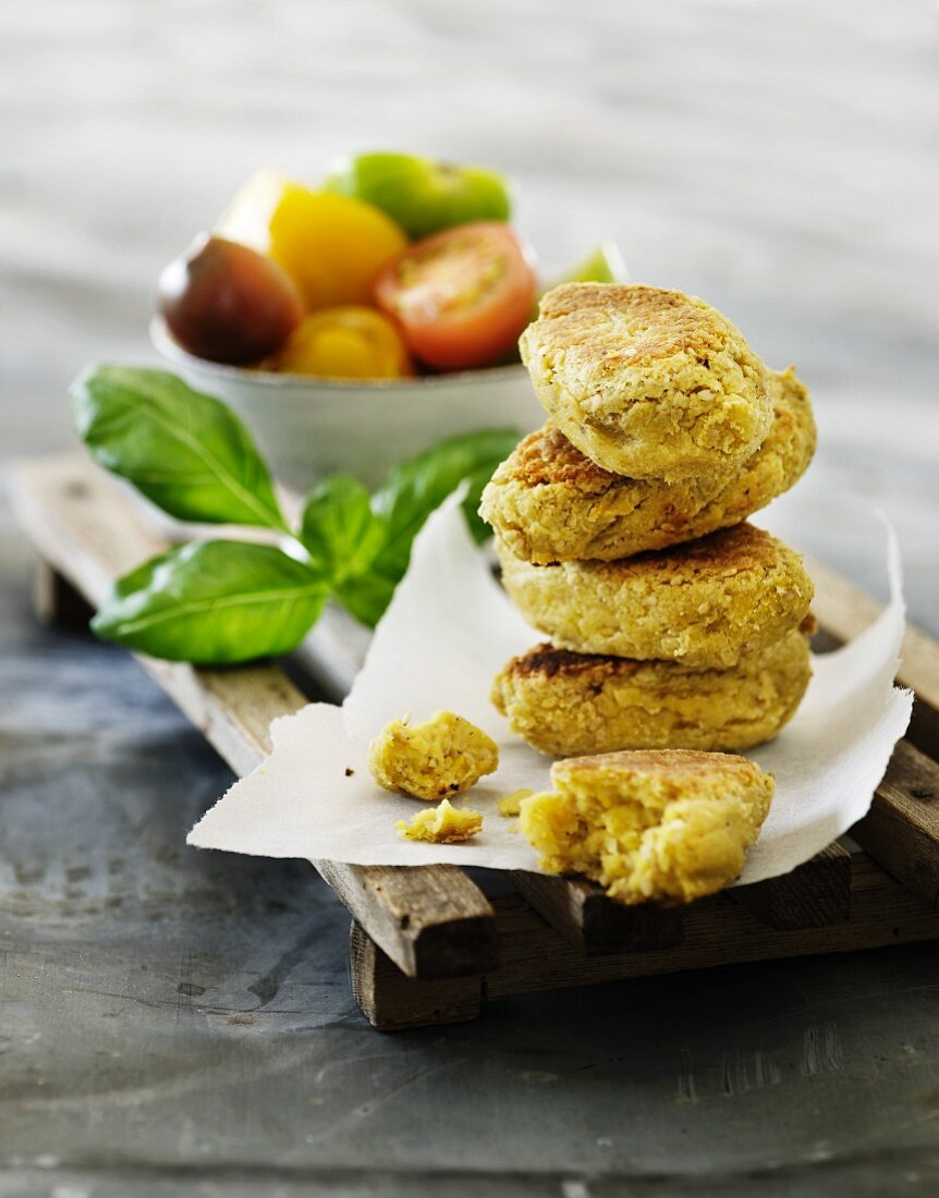 Sweetcorn fritters with a tomato salad