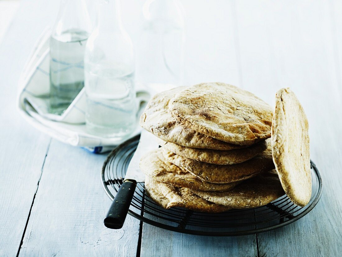 A stack of homemade unleavened bread